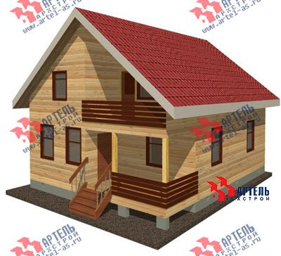 двухэтажный дом из профилированного бруса площадью от 100 до 150 кв. м. с  балконом, мансардой, проект Вариант 8 К фотография 1059