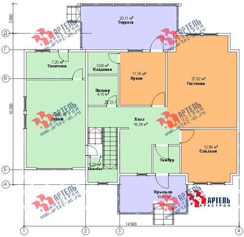 двухэтажный дом из профилированного бруса площадью свыше 200 кв. м. с  гаражом, мансардой, террасой, проект Вариант 10.2 А фотография 1320