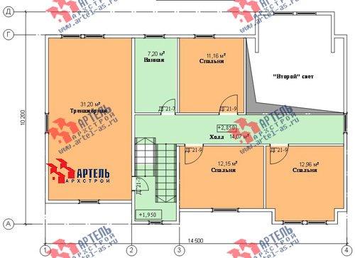 двухэтажный дом из профилированного бруса площадью свыше 200 кв. м. с  гаражом, мансардой, террасой, проект Вариант 10.2 А фотография 1321