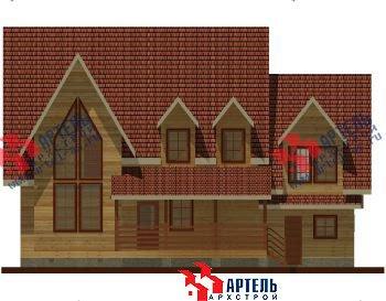 двухэтажный дом из профилированного бруса площадью свыше 200 кв. м. с  гаражом, мансардой, террасой, проект Вариант 10.2 А фотография 1317