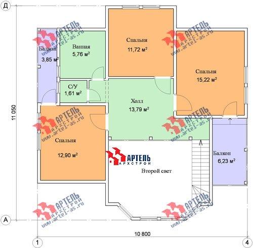 двухэтажный дом из профилированного бруса площадью от 150 до 200 кв. м. с  балконом, мансардой, эркером, проект Вариант 11 И фотография 1440