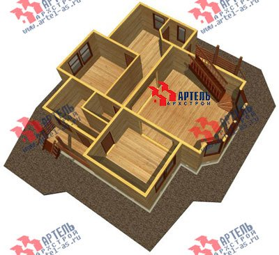 двухэтажный дом из профилированного бруса площадью от 150 до 200 кв. м. с  балконом, мансардой, эркером, проект Вариант 11 И фотография 1437