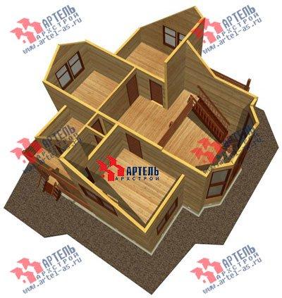 двухэтажный дом из профилированного бруса площадью от 150 до 200 кв. м. с  балконом, мансардой, эркером, проект Вариант 11 И фотография 1438