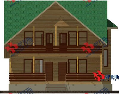 двухэтажный дом из бруса площадью свыше 200 кв. м. с  балконом, мансардой, террасой, эркером, проект Вариант 14 Б фотография 1484