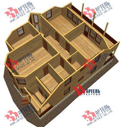 двухэтажный дом из бруса площадью свыше 200 кв. м. с  балконом, мансардой, террасой, эркером, проект Вариант 14 Б фотография 1489