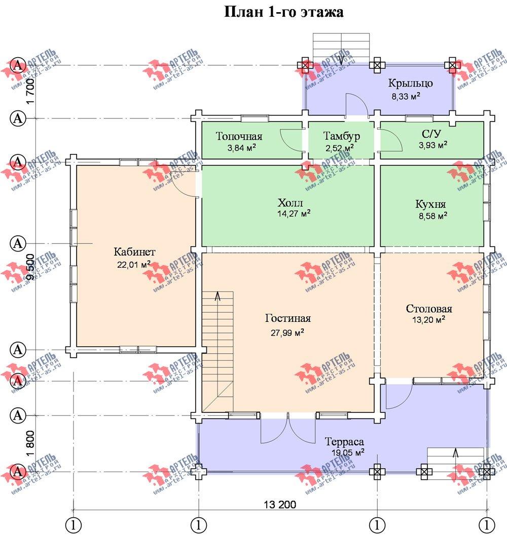 двухэтажный дом из профилированного бруса площадью от 150 до 200 кв. м. с  мансардой, террасой, проект Вариант 9.5 Т фотография 95