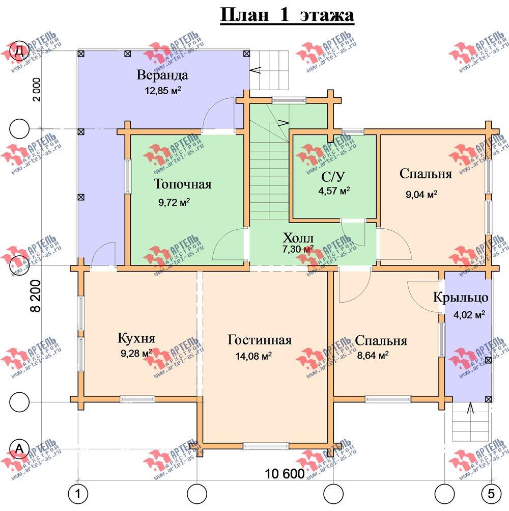 двухэтажный дом из профилированного бруса площадью от 100 до 150 кв. м. с  верандой, мансардой, эркером, проект Вариант 8.2 К фотография 357