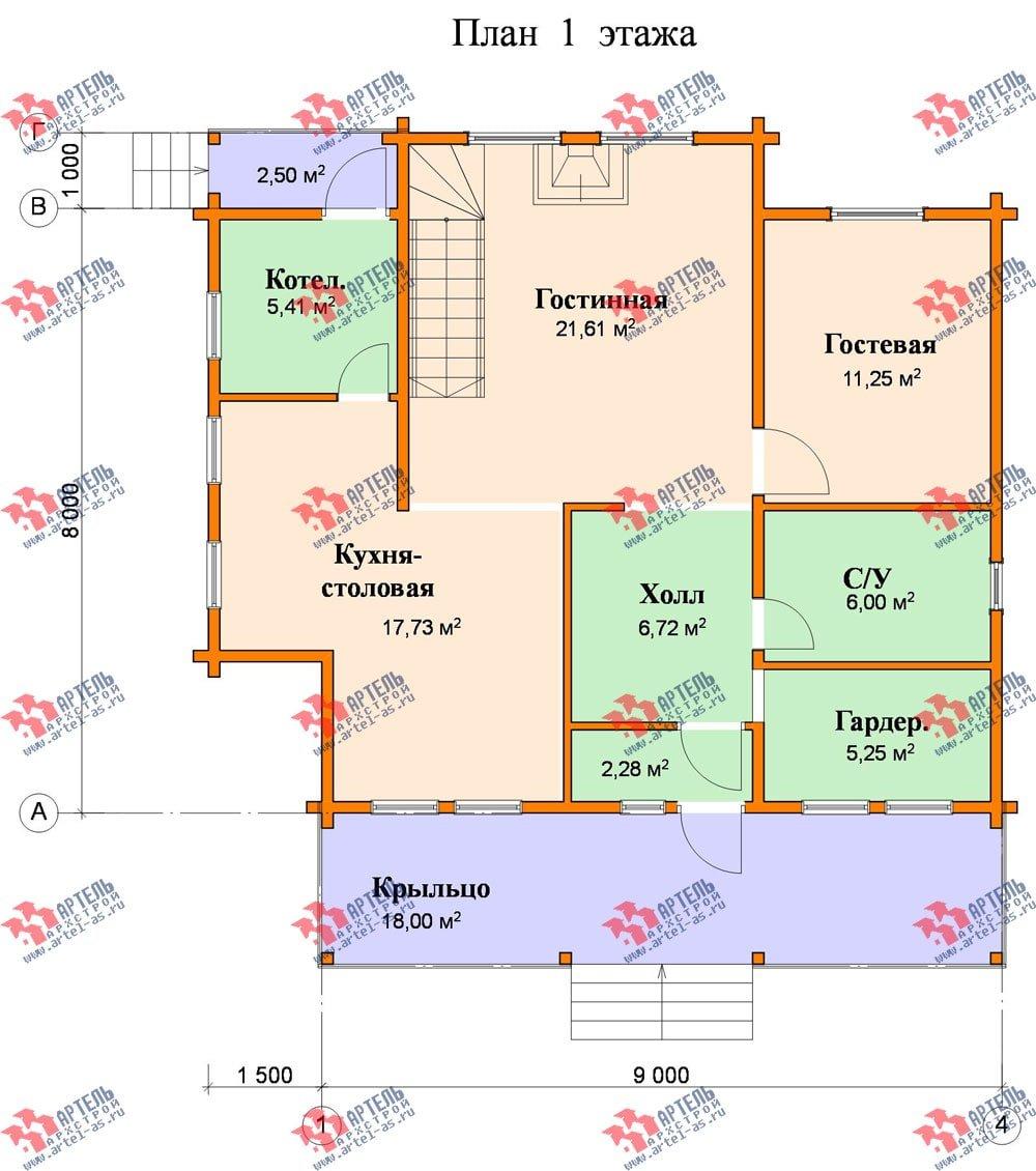 двухэтажный дом из профилированного бруса площадью от 150 до 200 кв. м., проект Вариант 9 О фотография 368