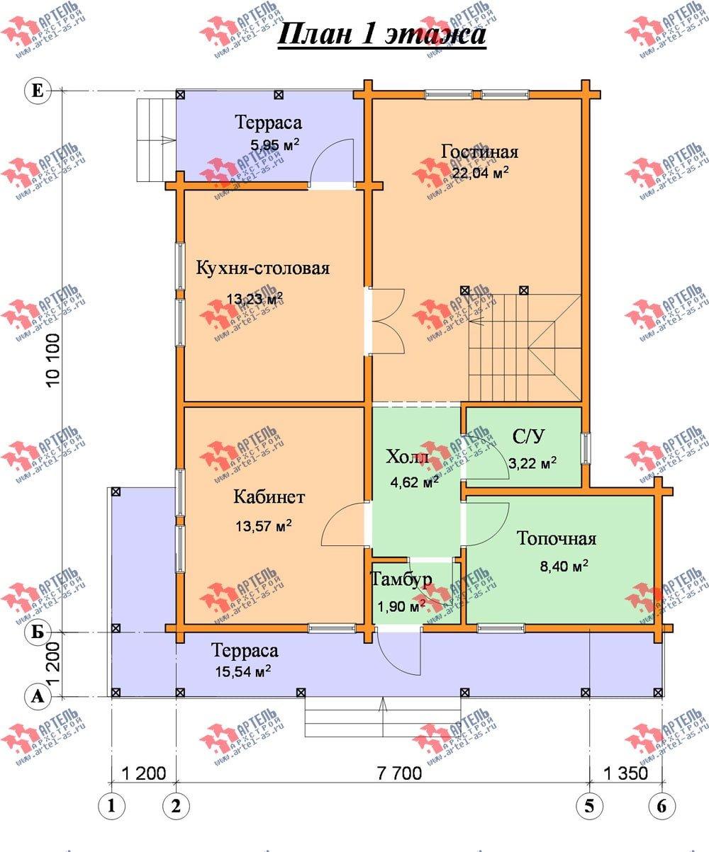 двухэтажный дом из профилированного бруса площадью от 150 до 200 кв. м. с  балконом, террасой, проект Вариант 7.7 А фотография 389