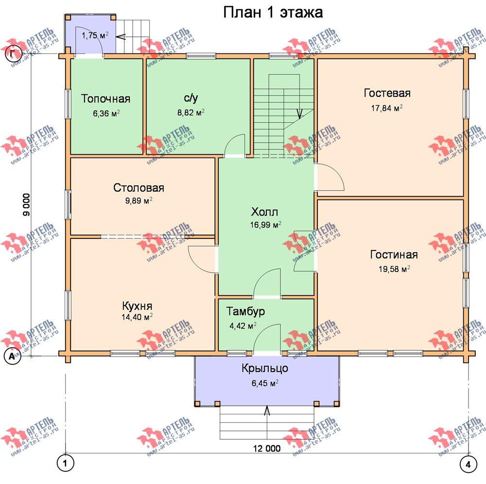 двухэтажный дом из профилированного бруса площадью свыше 200 кв. м. с  балконом, проект Вариант 9 Т фотография 424