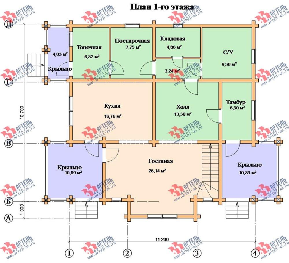двухэтажный дом из профилированного бруса площадью свыше 200 кв. м. с  мансардой, проект Вариант 10.7 К фотография 115
