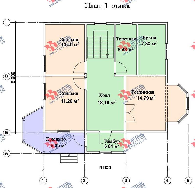 двухэтажный дом из бруса площадью от 100 до 150 кв. м. с  мансардой, террасой, эркером, проект Вариант 8 Д-1 фотография 1019