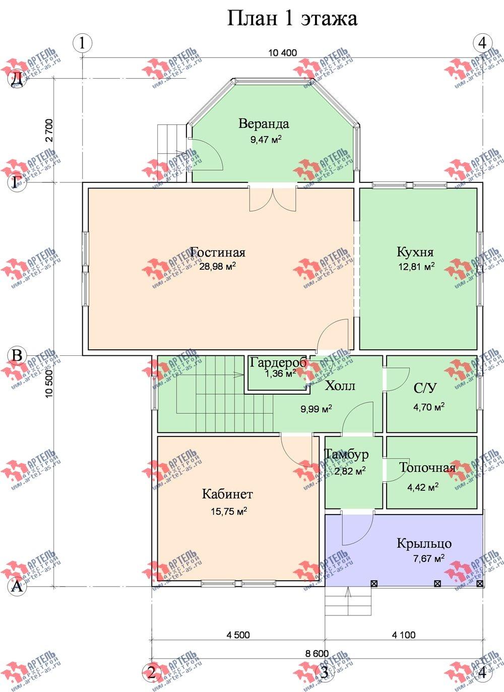 двухэтажный дом из бруса площадью от 150 до 200 кв. м. с  верандой, проект Вариант 8.6 А фотография 1164