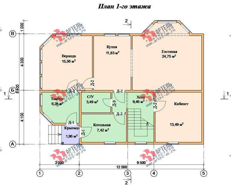двухэтажный дом из бруса площадью от 150 до 200 кв. м. с  мансардой, эркером, проект Вариант 8.4 К фотография 1234