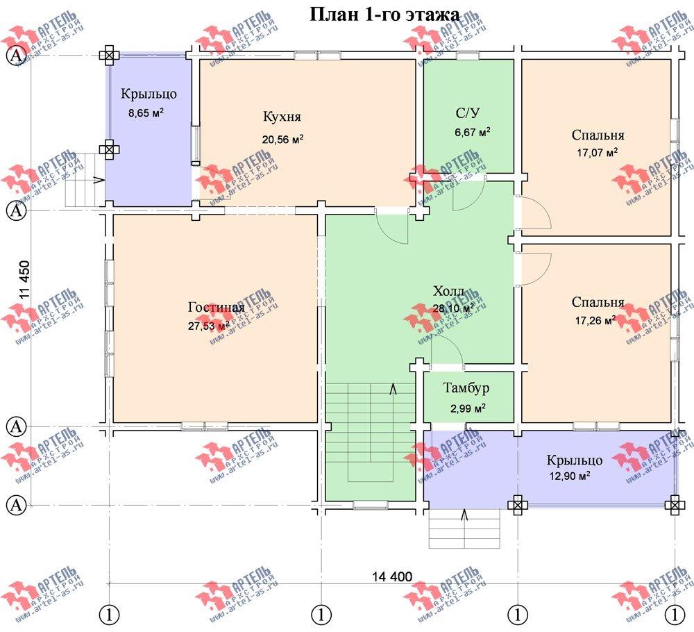 двухэтажный дом из бруса площадью свыше 200 кв. м. с  балконом, мансардой, проект Вариант 11.4 А фотография 126