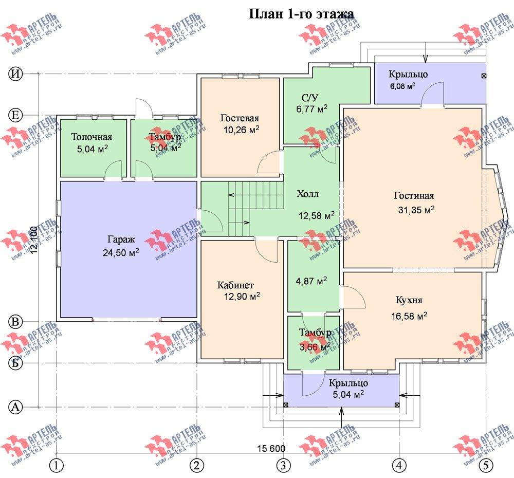 двухэтажный дом из бруса площадью свыше 200 кв. м. с  балконом, гаражом, мансардой, проект Вариант 12.1 А фотография 1417
