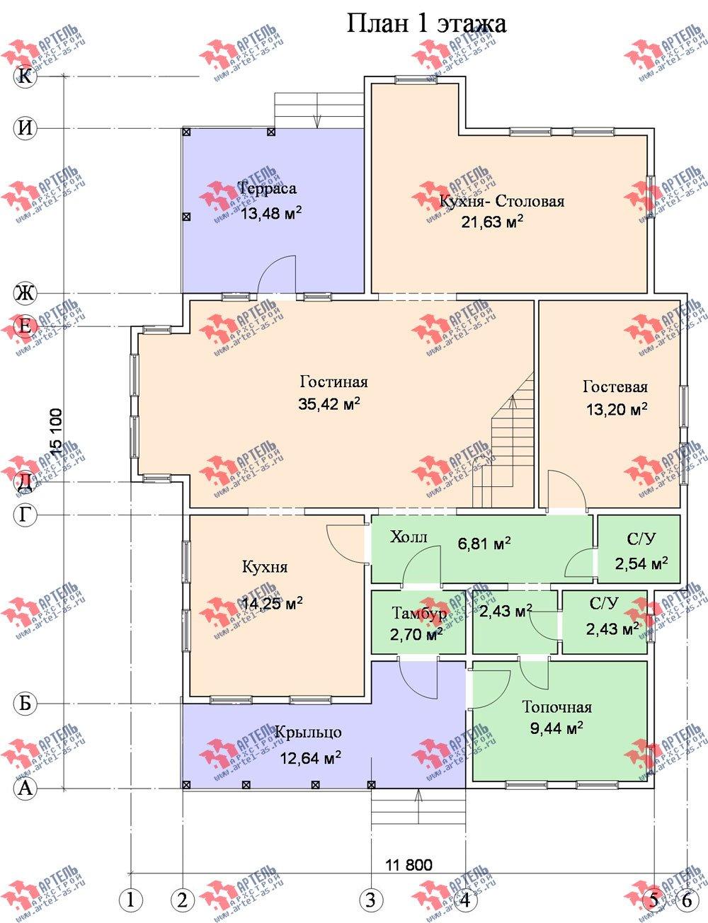 двухэтажный дом из бруса площадью свыше 200 кв. м. с  террасой, эркером, проект Вариант 15.1 А фотография 1500