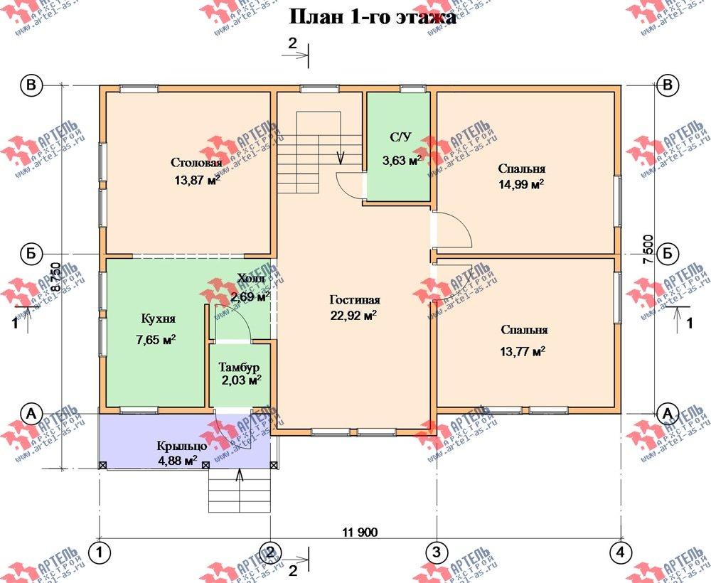 двухэтажный дом из бруса площадью от 150 до 200 кв. м. с  балконом, мансардой, проект Вариант 8.7 К фотография 2143