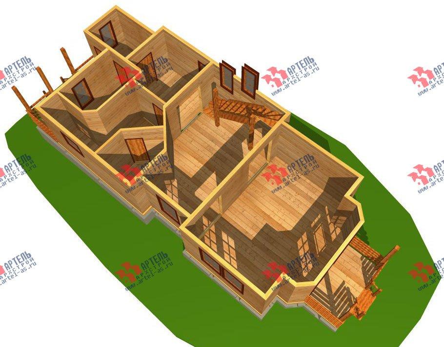 трёхэтажный дом из бруса площадью свыше 200 кв. м. с  балконом, мансардой, проект Вариант 6.3 Н фотография 2292