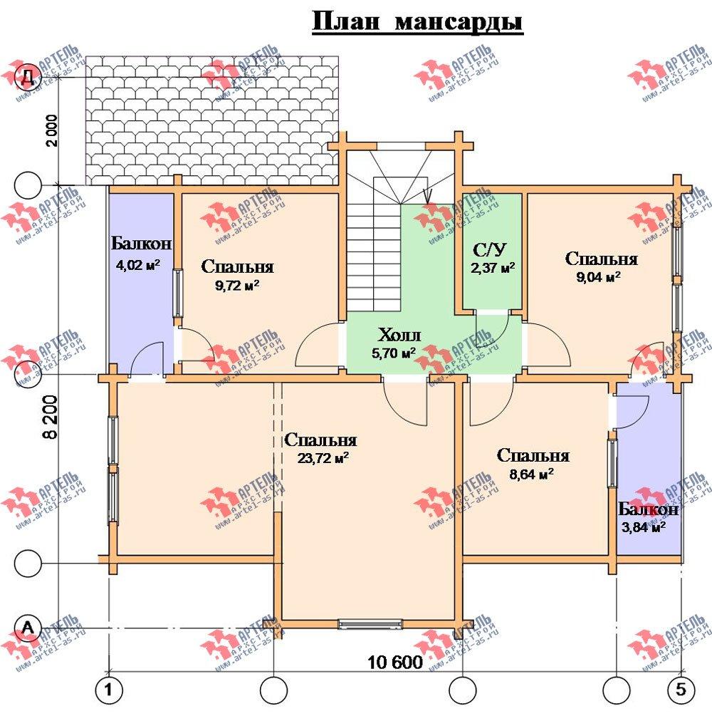 двухэтажный дом из профилированного бруса площадью от 100 до 150 кв. м. с  верандой, мансардой, эркером, проект Вариант 8.2 К фотография 358