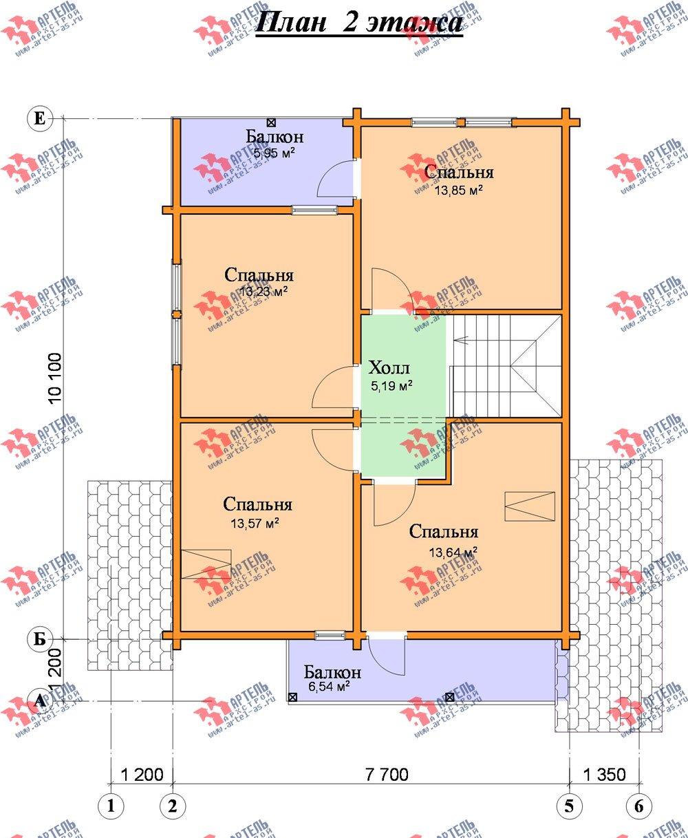 двухэтажный дом из профилированного бруса площадью от 150 до 200 кв. м. с  балконом, террасой, проект Вариант 7.7 А фотография 390