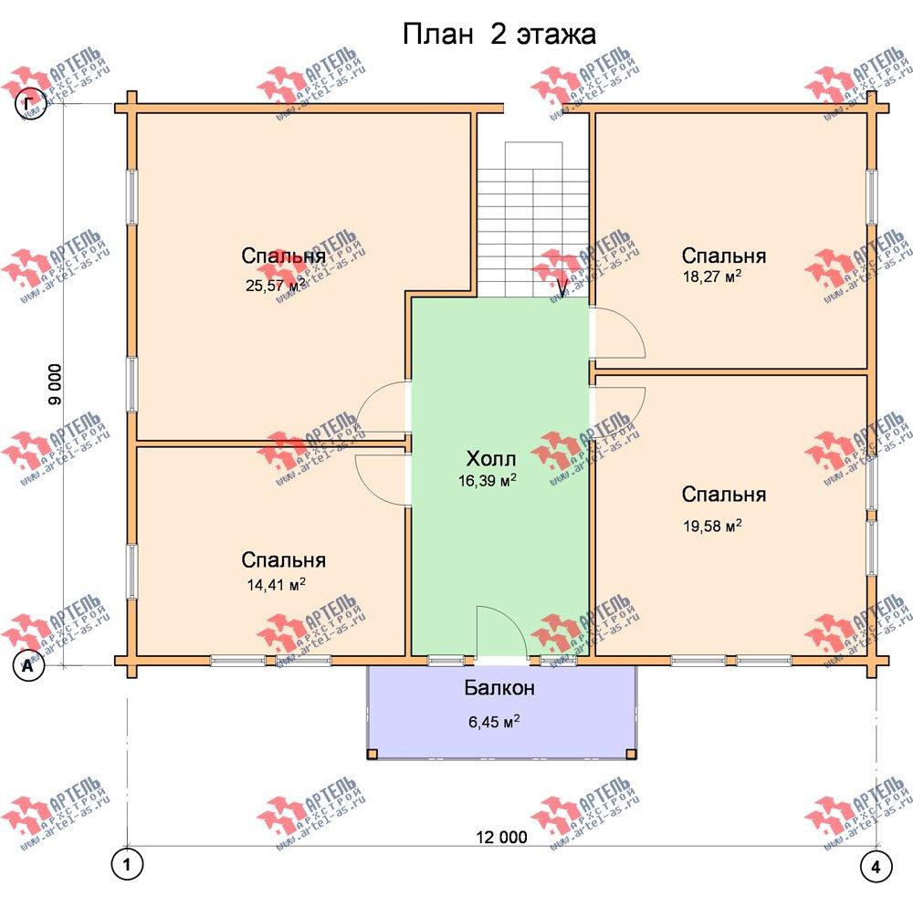 двухэтажный дом из профилированного бруса площадью свыше 200 кв. м. с  балконом, проект Вариант 9 Т фотография 425
