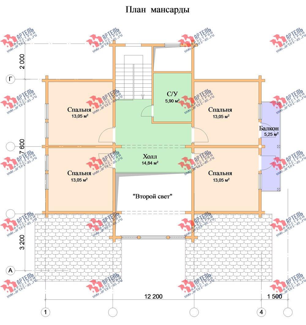 двухэтажный дом из профилированного бруса площадью свыше 200 кв. м. с  балконом, мансардой, террасой, эркером, проект Вариант 11 К фотография 436