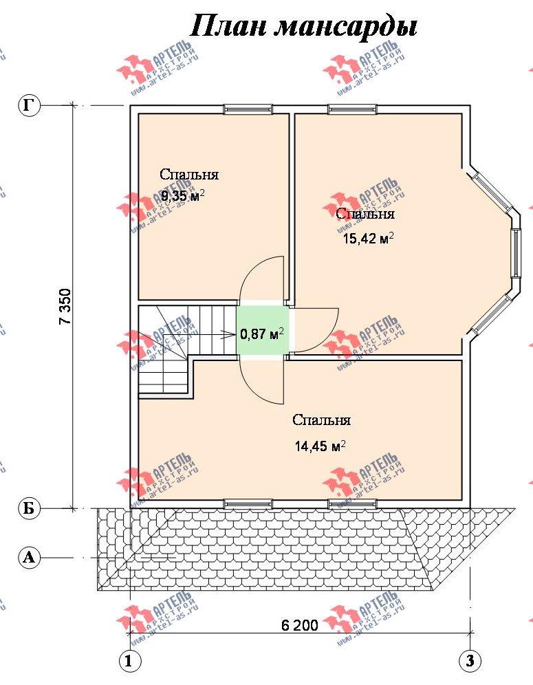 двухэтажный дом из бруса площадью до 100 кв. м. с  мансардой, эркером, проект Вариант 6.2 А фотография 718