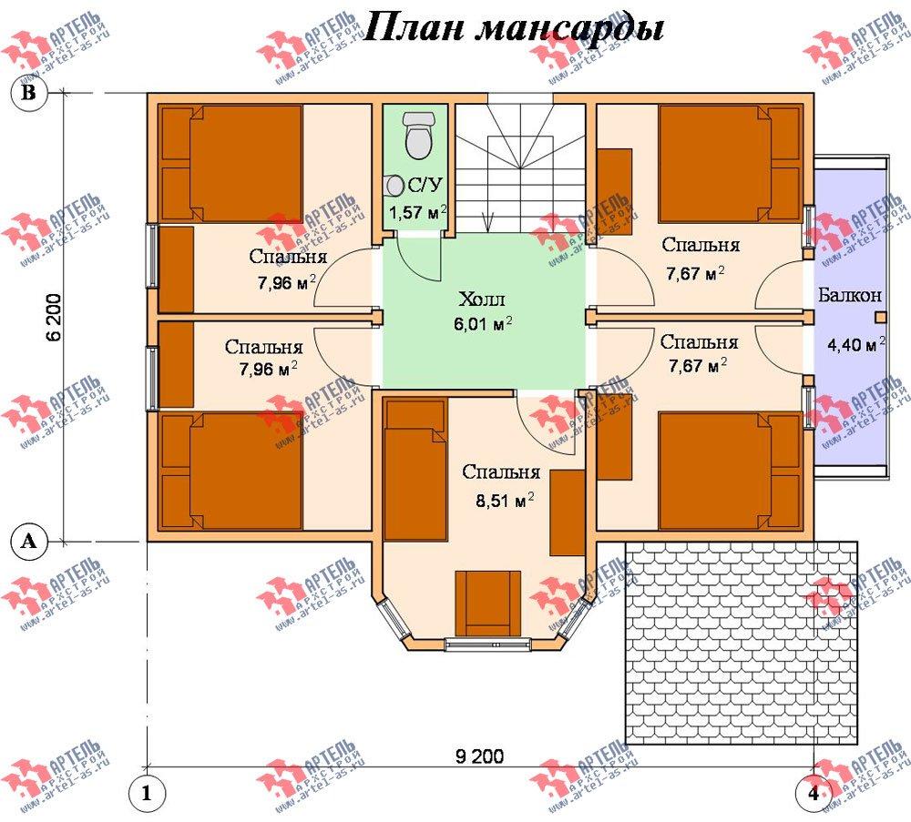 двухэтажный дом из бруса площадью от 100 до 150 кв. м. с  балконом, мансардой, эркером, проект Вариант 6.2 К фотография 764