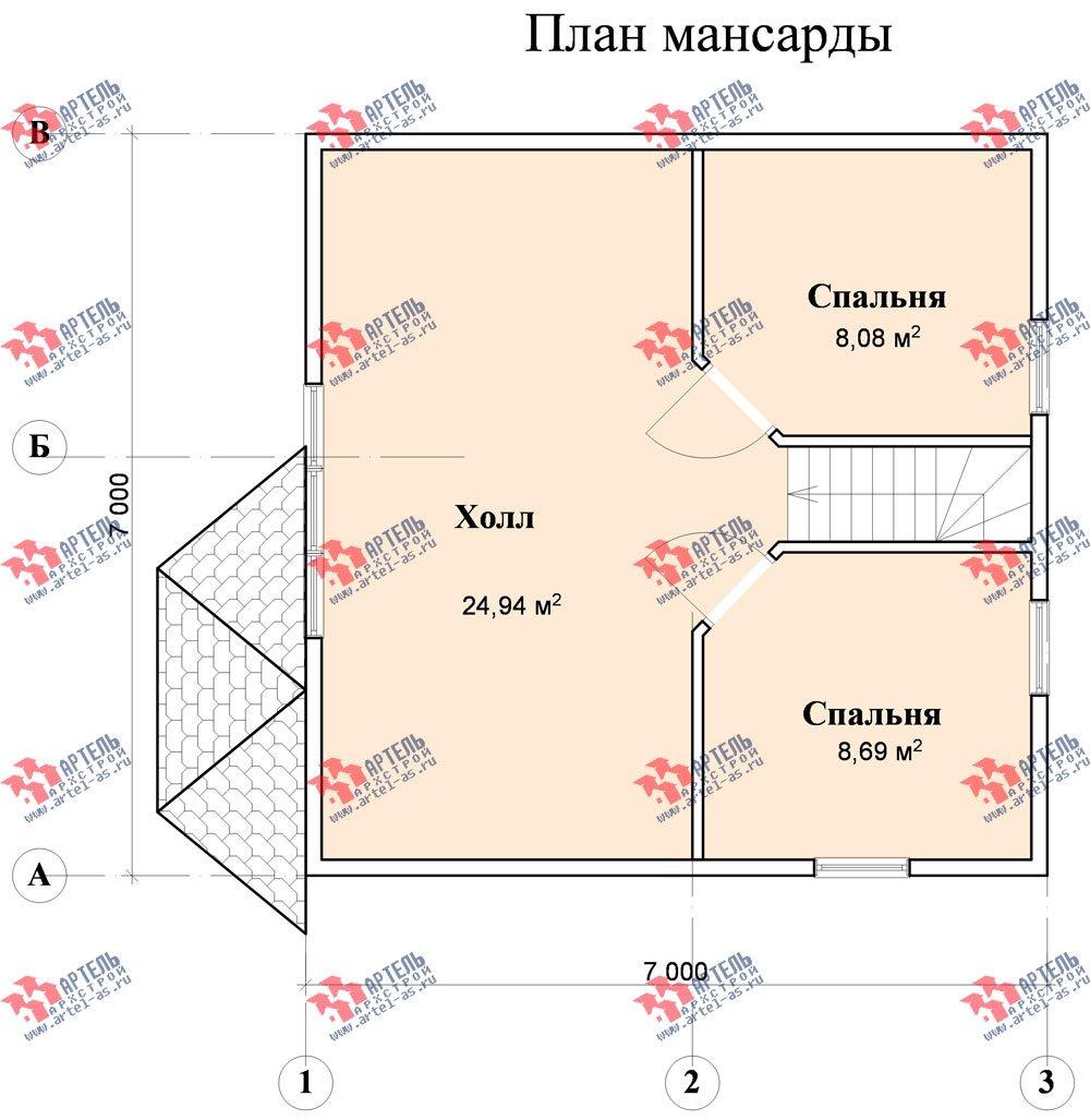 двухэтажный дом из профилированного бруса площадью до 100 кв. м. с  мансардой, эркером, проект Вариант 7 Е-1 фотография 843