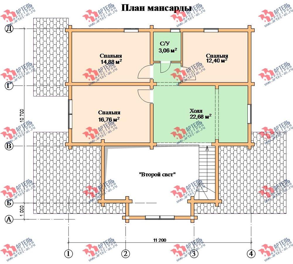 двухэтажный дом из профилированного бруса площадью свыше 200 кв. м. с  мансардой, проект Вариант 10.7 К фотография 116