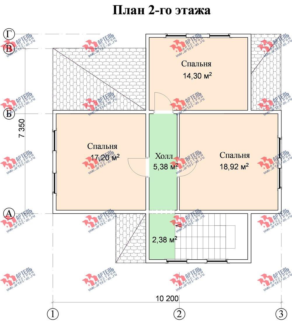 двухэтажный дом из профилированного бруса площадью от 100 до 150 кв. м. с  мансардой, проект Вариант 7.3 Б фотография 932