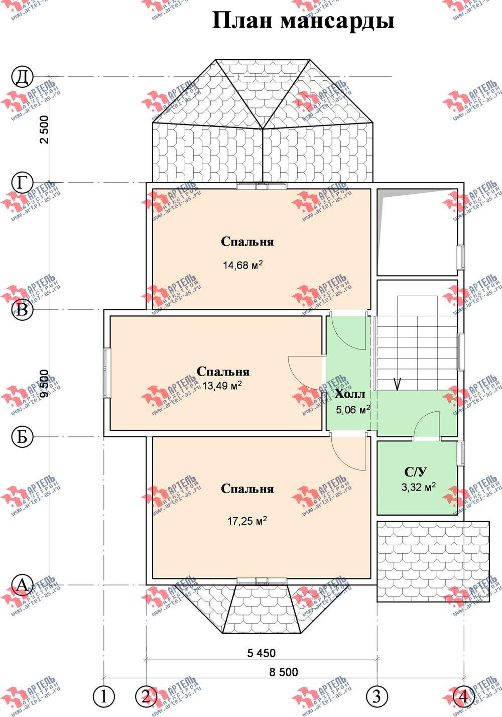 двухэтажный дом из бруса площадью от 100 до 150 кв. м. с  верандой, мансардой, эркером, проект Вариант 8.5 Г фотография 1000