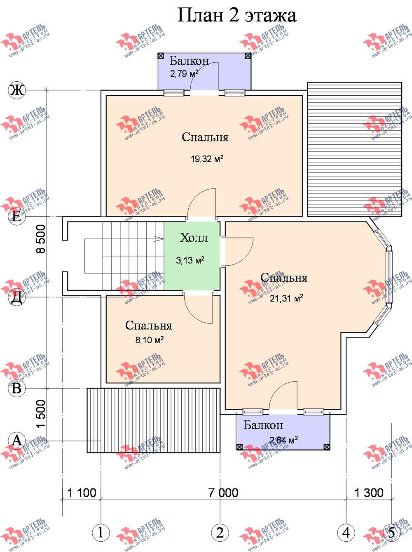 двухэтажный дом из бруса площадью от 100 до 150 кв. м. с  балконом, мансардой, эркером, проект Вариант 9.3 В фотография 1136