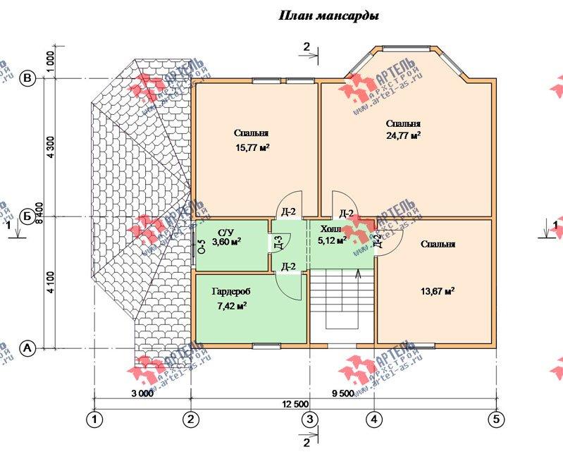двухэтажный дом из бруса площадью от 150 до 200 кв. м. с  мансардой, эркером, проект Вариант 8.4 К фотография 1235