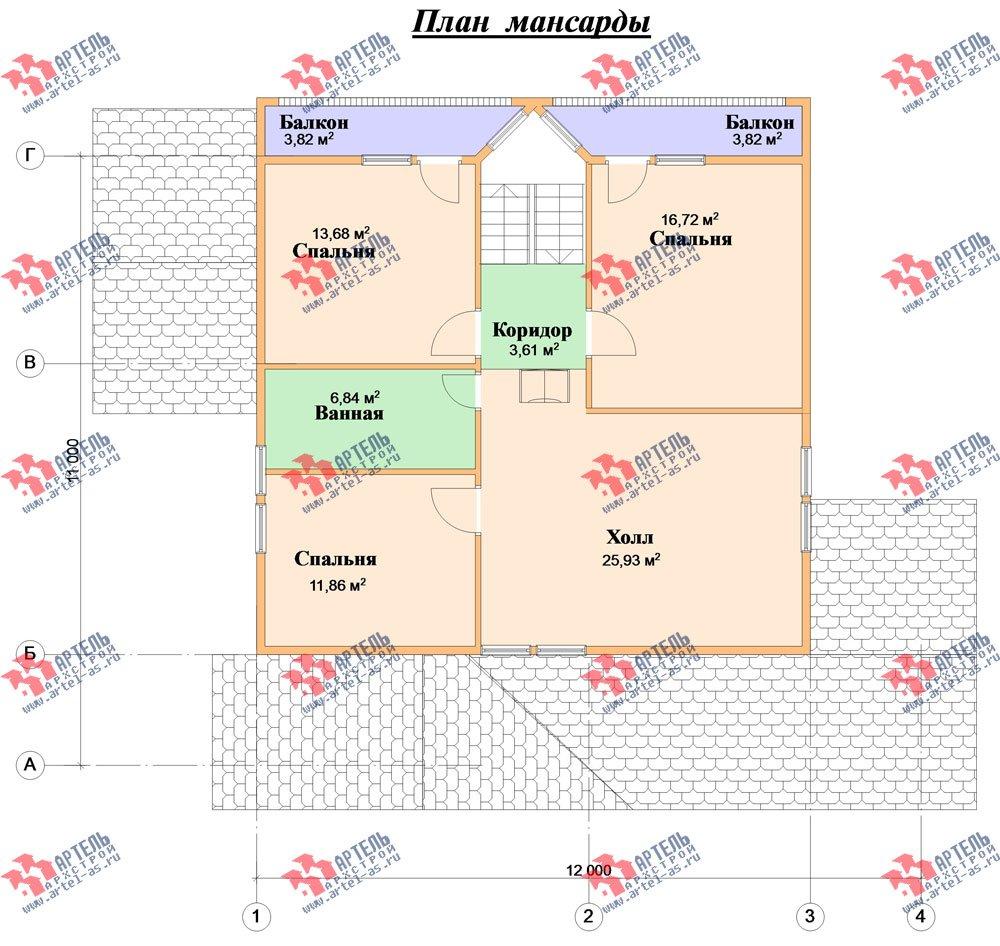 двухэтажный дом из бруса площадью свыше 200 кв. м. с  балконом, мансардой, террасой, проект Вариант 10 Г фотография 1351