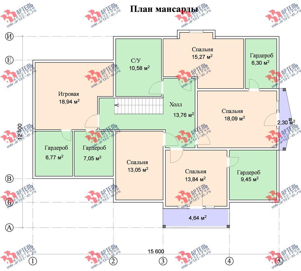 двухэтажный дом из бруса площадью свыше 200 кв. м. с  балконом, гаражом, мансардой, проект Вариант 12.1 А фотография 1418