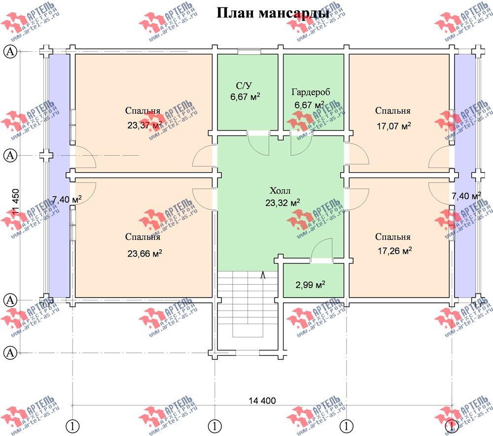 двухэтажный дом из бруса площадью свыше 200 кв. м. с  балконом, мансардой, проект Вариант 11.4 А фотография 127