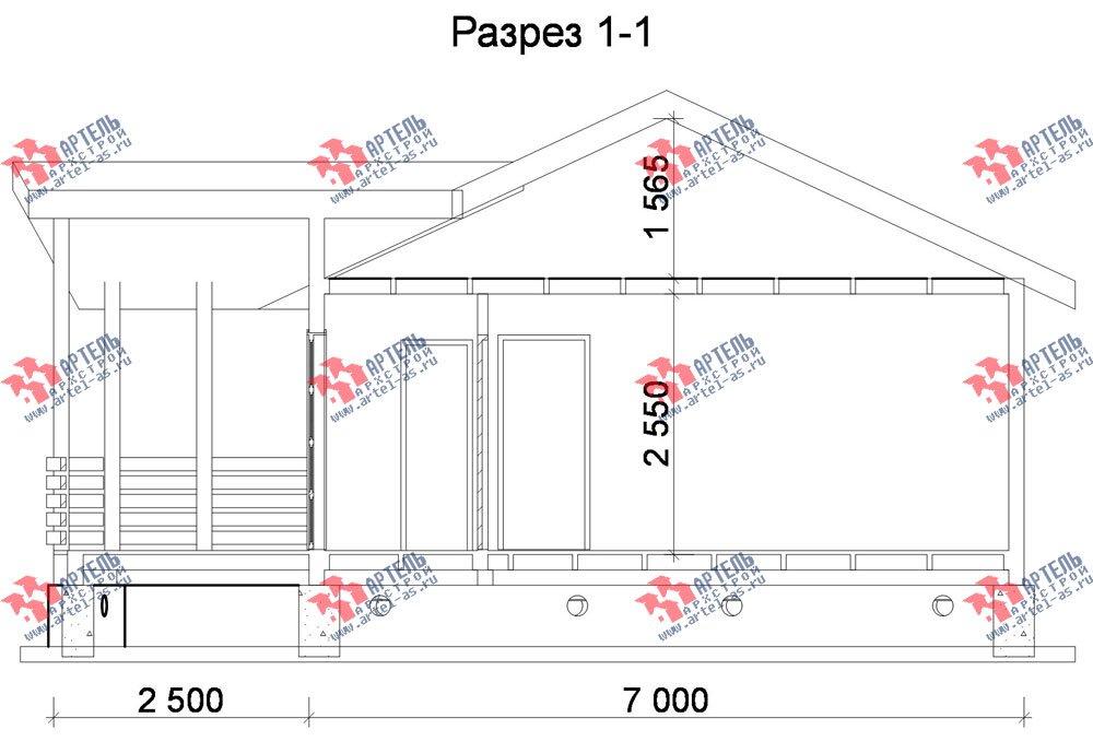 одноэтажный дом из профилированного бруса площадью до 100 кв. м., проект Вариант 2 фотография 1538