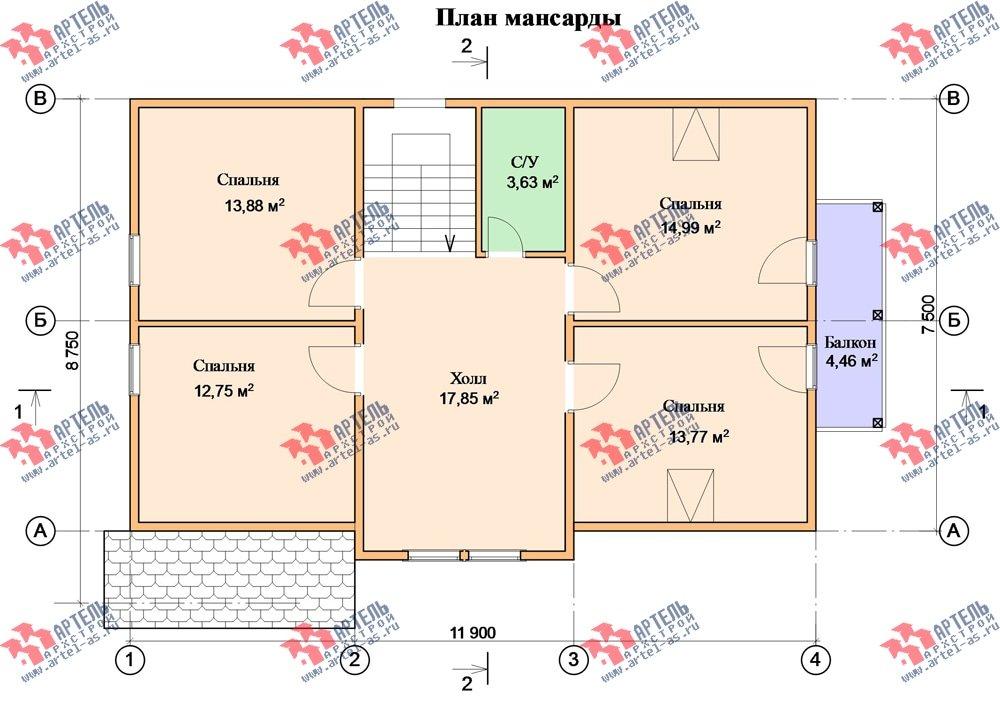 двухэтажный дом из бруса площадью от 150 до 200 кв. м. с  балконом, мансардой, проект Вариант 8.7 К фотография 2145