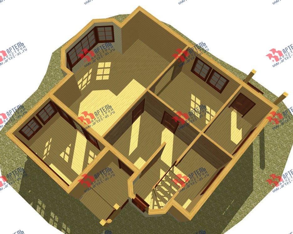 двухэтажный дом из профилированного бруса камерной сушки площадью от 100 до 150 кв. м. с  мансардой, эркером, проект Вариант 2 фотография 2529