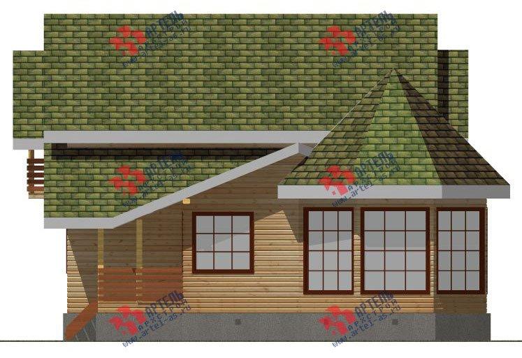 двухэтажный дом из профилированного бруса площадью от 150 до 200 кв. м. с  балконом, мансардой, эркером, проект Вариант 9 Е-1 фотография 2598