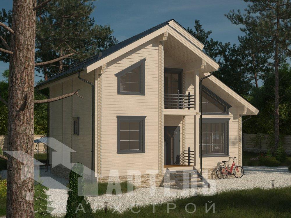 двухэтажный дом из профилированного бруса площадью от 100 до 150 кв. м. с  балконом, мансардой, проект Вариант 9.3 К фотография 6416