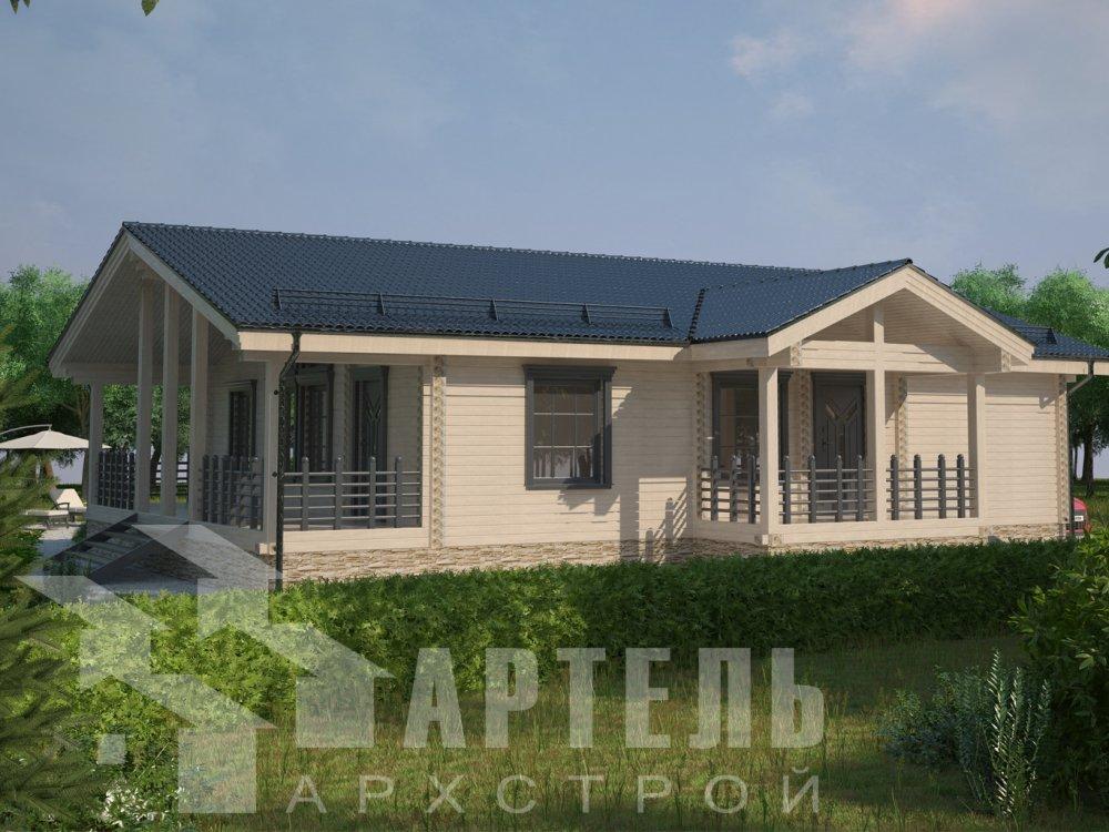 одноэтажный дом из профилированного бруса площадью от 100 до 150 кв. м. с  террасой, проект Вариант 12.4 Б фотография 6432
