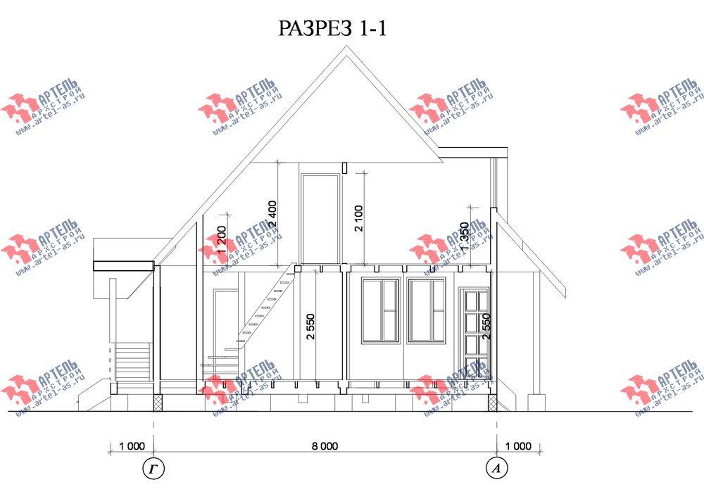 двухэтажный дом из профилированного бруса площадью до 100 кв. м. с  мансардой, эркером, проект Вариант 7 В фотография 806
