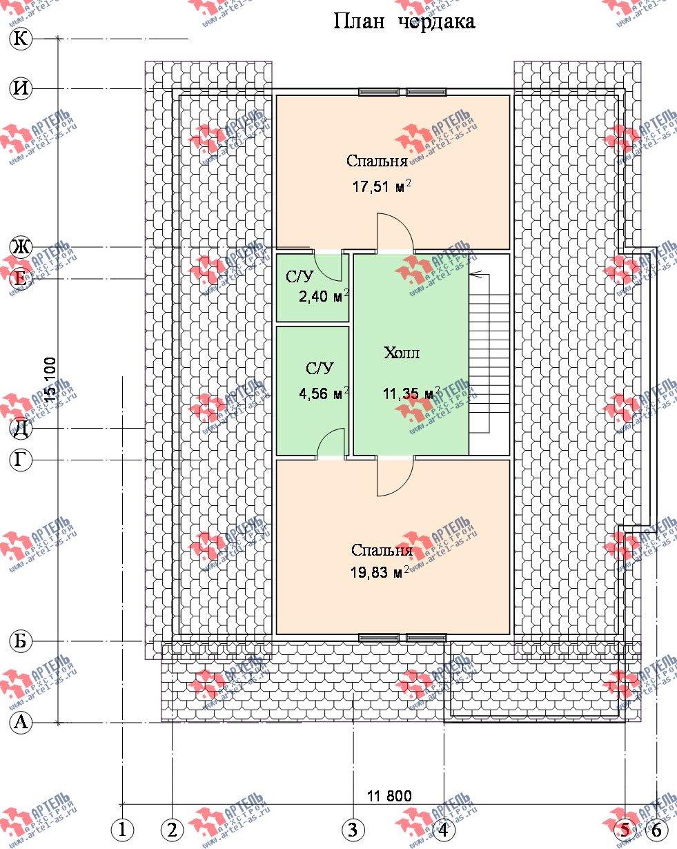 двухэтажный дом из бруса площадью свыше 200 кв. м. с  террасой, эркером, проект Вариант 15.1 А фотография 1502