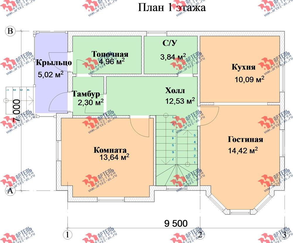 двухэтажный дом из бруса площадью от 100 до 150 кв. м. с  мансардой, эркером, проект Вариант 7 фотография 2804