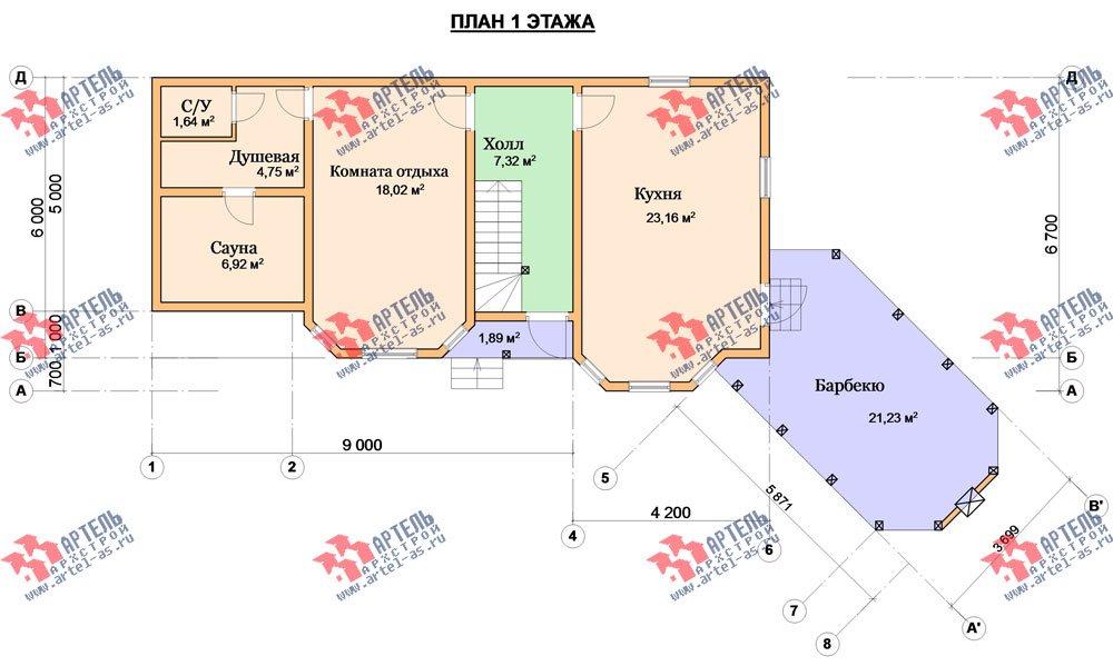 двухэтажный дом из профилированного бруса площадью от 100 до 150 кв. м. с  мансардой, террасой, эркером, проект Вариант 6.7 Б фотография 3001