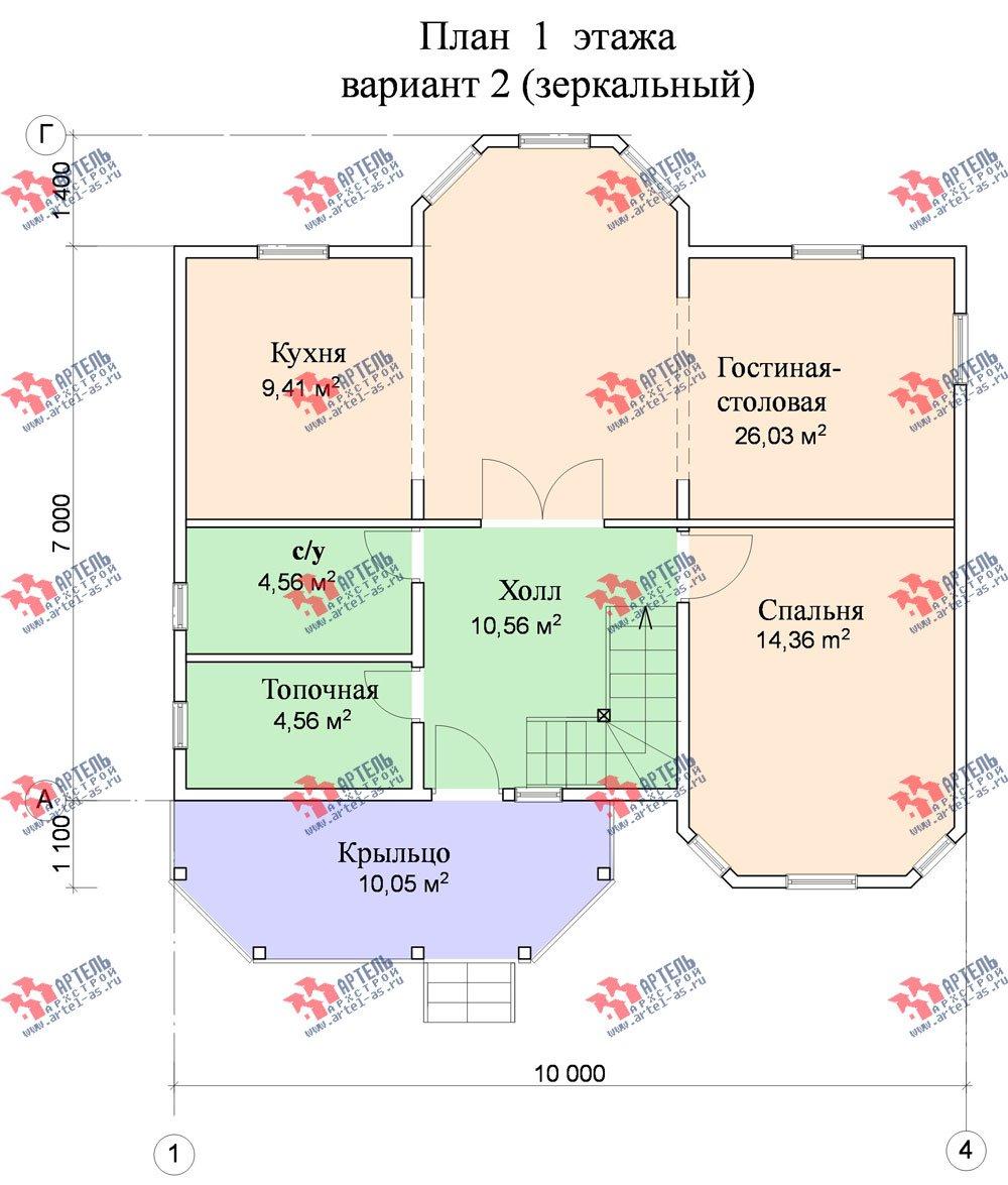 двухэтажный дом из бруса площадью от 100 до 150 кв. м. с  мансардой, террасой, эркером, проект Вариант 8.4 А фотография 962