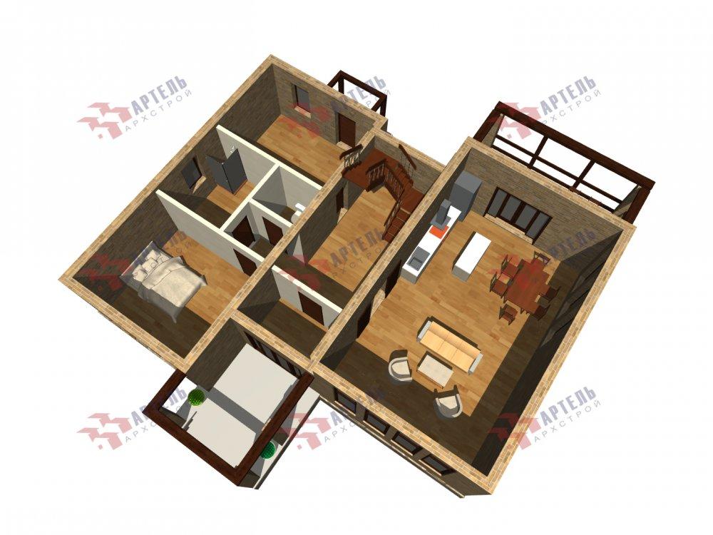 дом омбинированные дома площадью от 150 до 200 кв. м. с  мансардой, проект Вариант 13,5Б Камень и Комбинированный фотография 6125